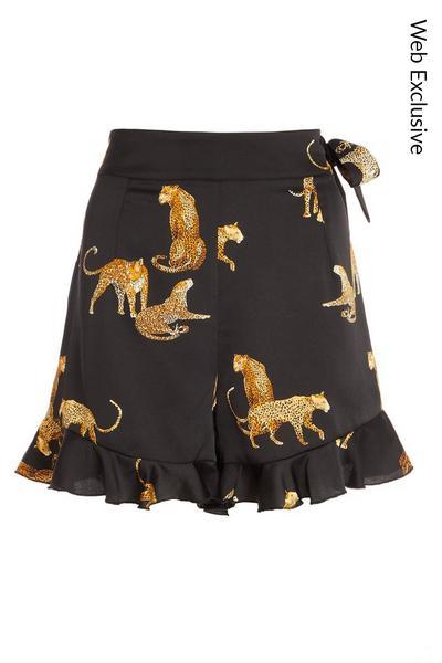 Black Satin Leopard Frill Shorts
